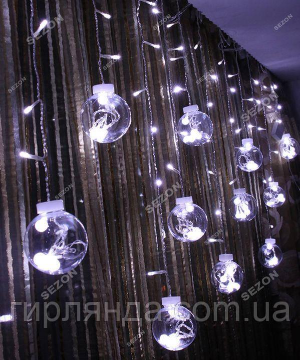 Штора-кульки  РОСА 10шт,  3м*0,8м+ з'єднювач,  білий