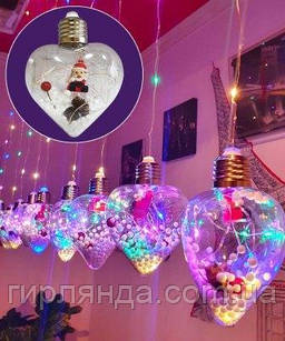 Кульки  Дід Мороз в лампі 10шт, 3м*0,8м/ перехідник,  мульті