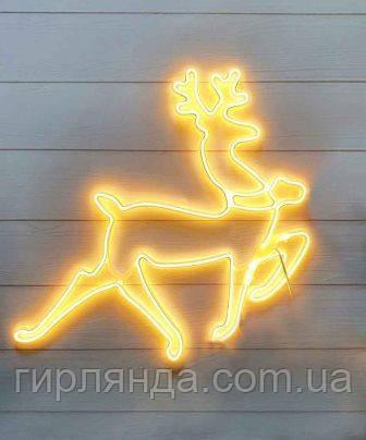 Мотив олень новорічний 45см*70см, білий теплий