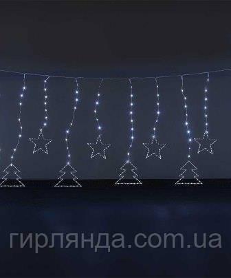 Штора-роса ялинка+ зірочка 10шт, 3м*1м /з'єднання єднювач, білий