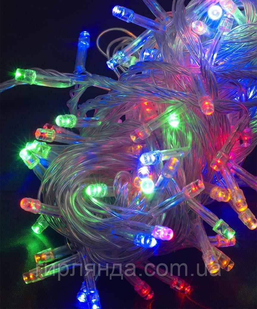 100 LED,  мульті                 (прозорий провід)