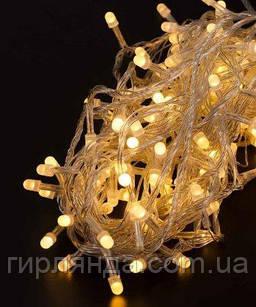 ЛІНЗА  8мм 200 LED, прозорий провід 13м, білий теплий