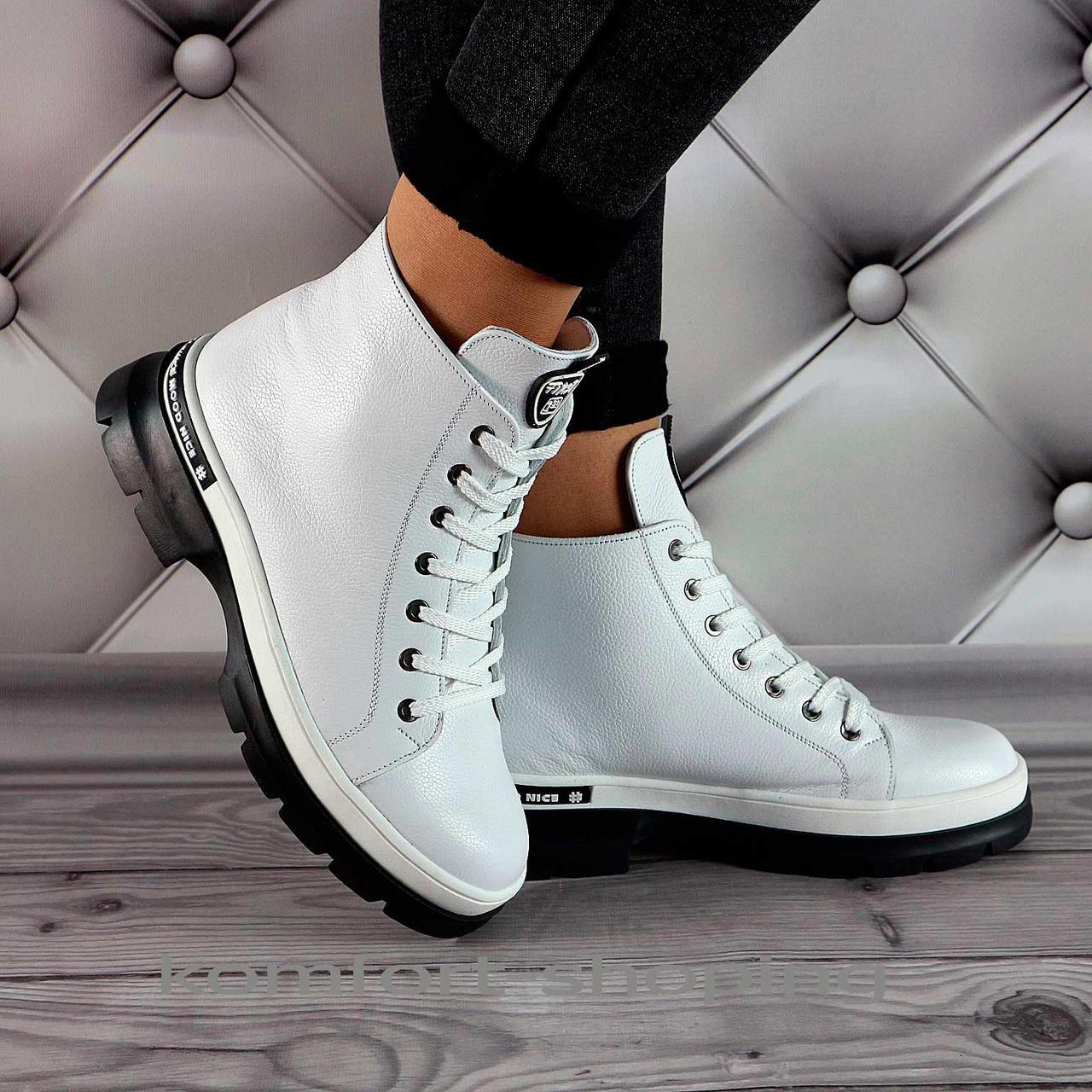 Зимние ботинки женские белые кожаные   V 1340