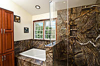 Облицовка ванной комнаты мрамором Рейн Форест Браун (Reyn Forest Broun)