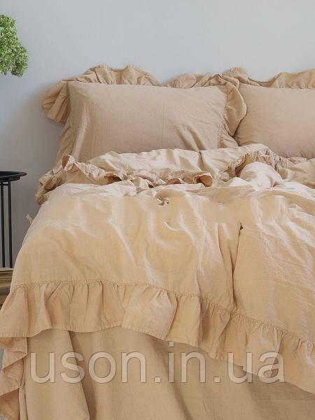 Комплект постельного белья из вареного хлопка евро размер Limasso Akdeniz bej exclusive