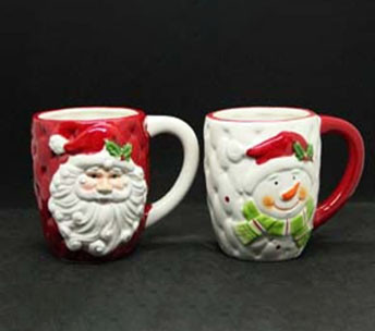 Чашка новогодняя с Санта Клаусом / Снеговиком 375мл 7938-4