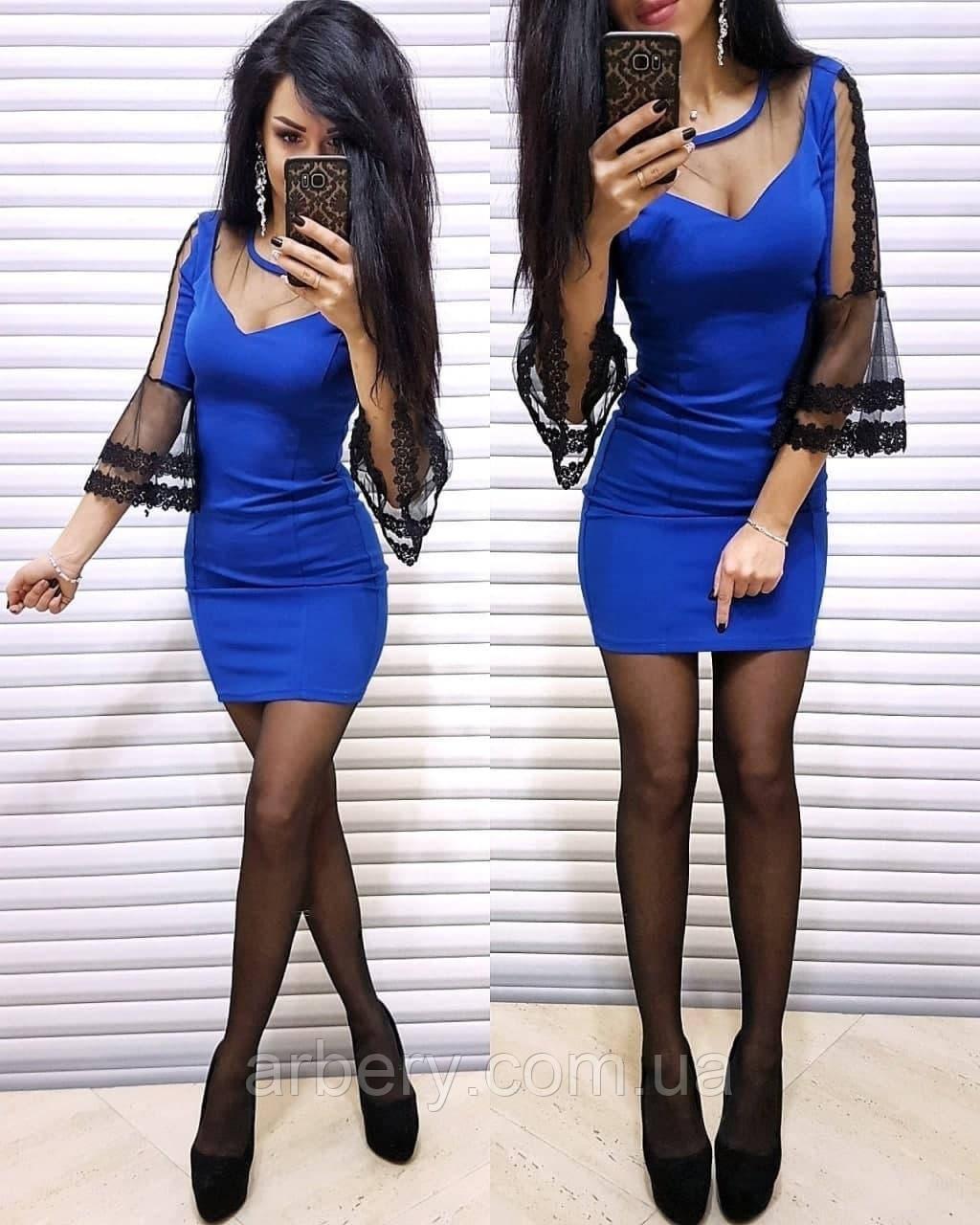 Шикарное женское платье с сеткой на рукавах