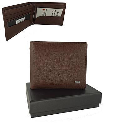 Кожаный мужской кошелек портмоне на магнитах с зажимом для денег Classic DR. BOND MSM-3 coffee