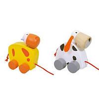 Деревянная игрушка Каталка Коровка и собачка