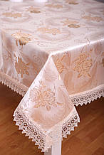 Скатерть на праздничный стол с кружевом 3D 120-152 Праздничная Розы Золотистые
