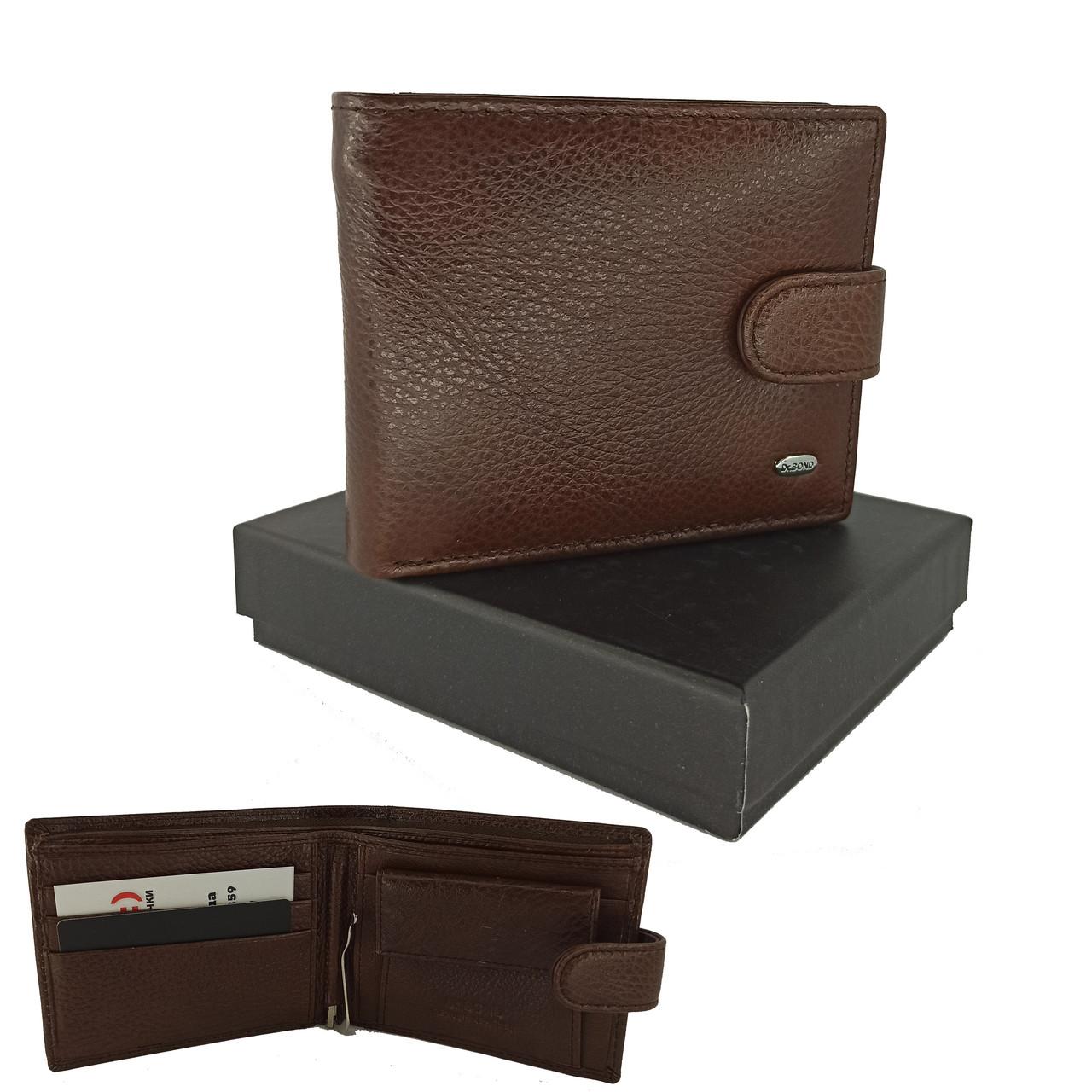 Коричневый кожаный мужской кошелек портмоне с зажимом для денег DR. BOND M13-1 coffee
