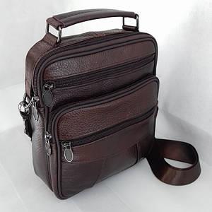Мужская кожаная сумка-барсетка SWAN-28257 Коричневая