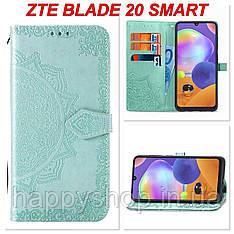 Чохол-книжка з візитницею для ZTE Blade 20 Smart (Бірюзовий)
