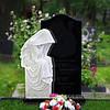 Памятник комбинированный (белый мрамор, черный габбро)