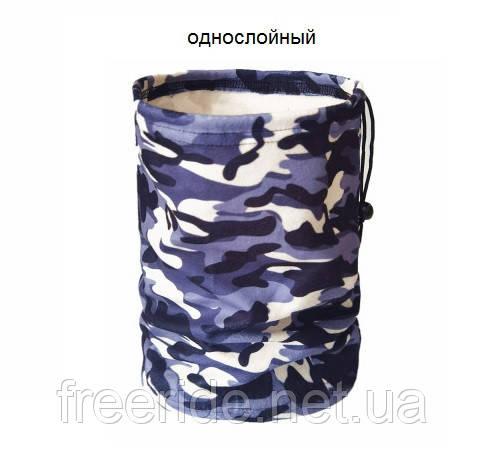 Зимний бафф, теплый шарф-труба (серый камуфляж)
