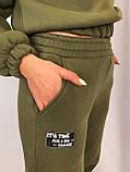 Тёплый зимний костюм с укорочённым батником в цвете хаки, фото 2
