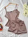 Пижама женская шёлковая майка и шорты оливка, чёрный, бордо, капучино, бежевый, леопард, пудра 42,44,46,48, фото 3