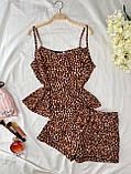 Пижама женская шёлковая майка и шорты оливка, чёрный, бордо, капучино, бежевый, леопард, пудра 42,44,46,48, фото 6