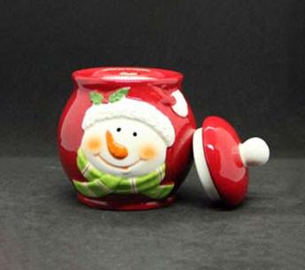 Новорічна банку для цукерок Сніговик 950мл 7938-11