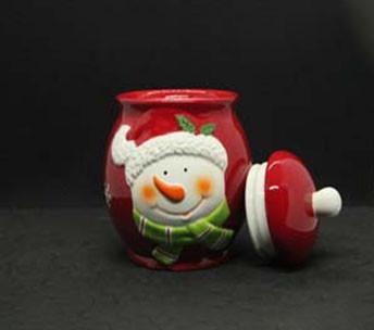 Посуда новогодняя тематика сахарница Снеговик 375мл 7938-7