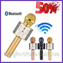 Original Портативный Микрофон Караоке Wester ws 858 Беспроводной Bluetooth + Колонка с Подсветкой в Подарок