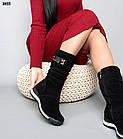 Зимові жіночі чорні дутики, натуральна замша 36 37 ОСТАННІ РОЗМІРИ, фото 2