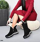 Зимові жіночі чорні дутики, натуральна замша 36 37 ОСТАННІ РОЗМІРИ, фото 3