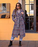 Шикарное зимнее пальто в клетку, фото 1
