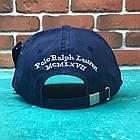 Кепка Бейсболка Мужская Женская Polo Ralph Lauren 3 с тканевым ремешком Темно-Синяя с Белым лого, фото 4