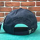 Кепка Бейсболка Мужская Женская Polo Ralph Lauren 3 с тканевым ремешком Темно-Синяя с Черным лого, фото 4