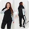 Теплий спортивний костюм чорний великих розмірів (4 кольори) НФ/-16382