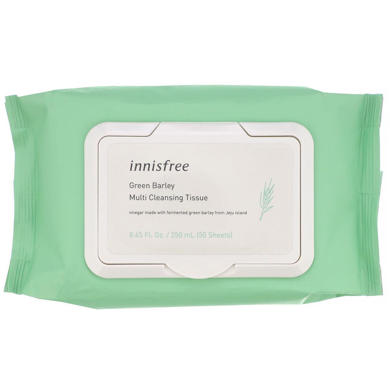 Innisfree Green Barley Multi Cleansing Tissue Универсальные очищающие салфетки, 50 шт