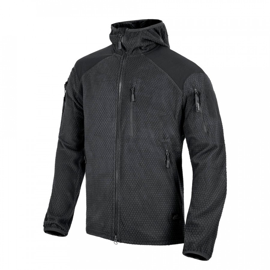 Куртка ALPHA HOODIE Grid Fleece - Black