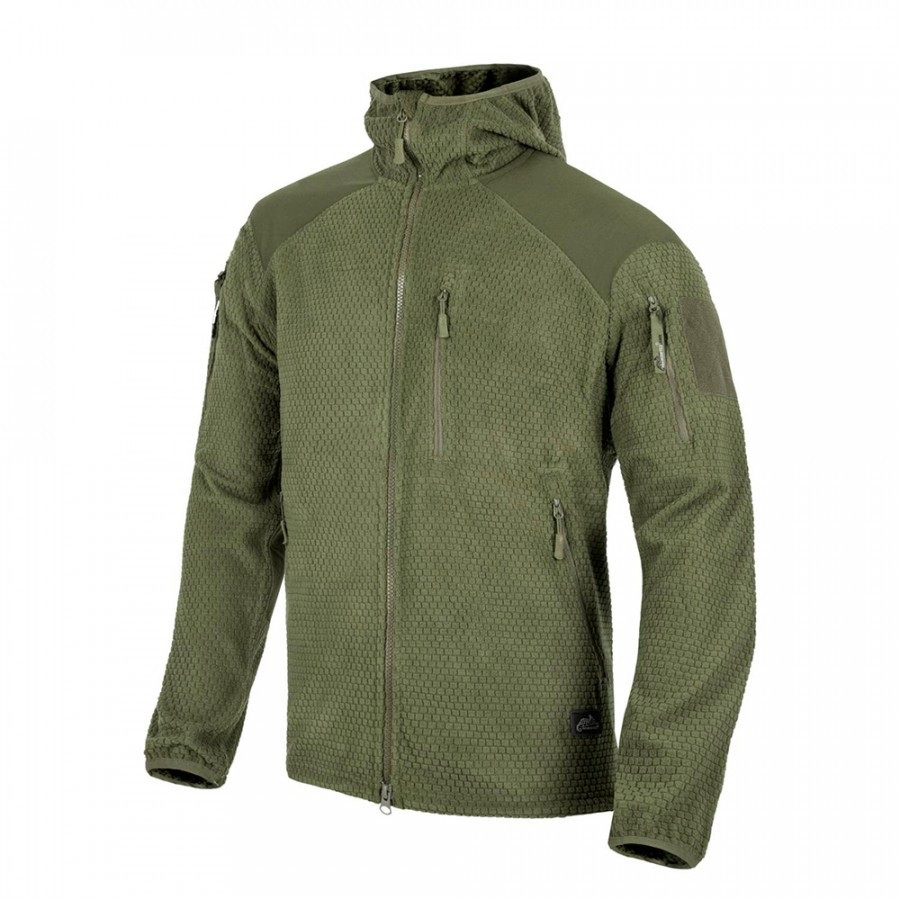 Куртка ALPHA HOODIE Grid Fleece - Olive Green