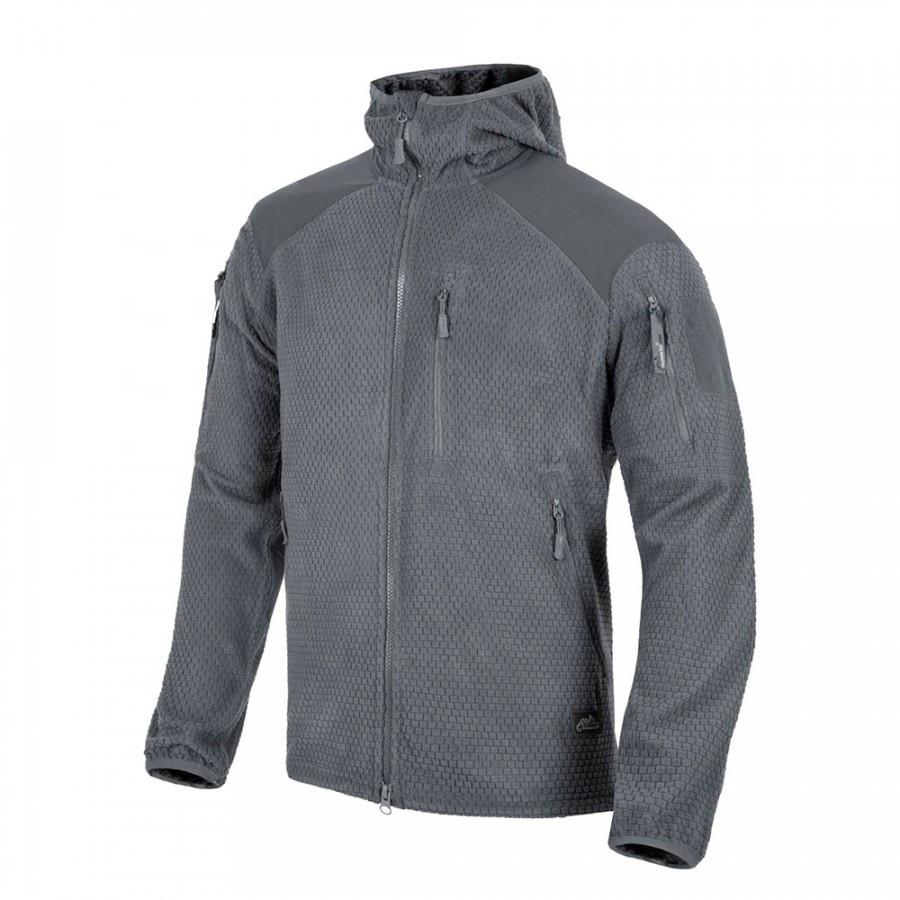 Куртка ALPHA HOODIE Grid Fleece - Shadow Grey