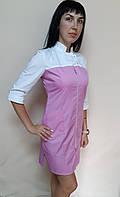 Женский медицинский халат Герда коттон на молнии три четверти рукав, фото 1