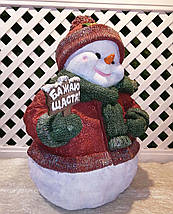 """Новорічна садова фігура Сніговик з табличкою """"Бажаю щастя!"""" великої, фото 3"""