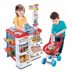 Детский супермаркет с тележкой Supermarket , продукты, звук, свет, касса