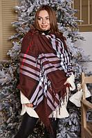 Клетчатый женский кашемировый шарф- палантин брендовой расцветки!, фото 1