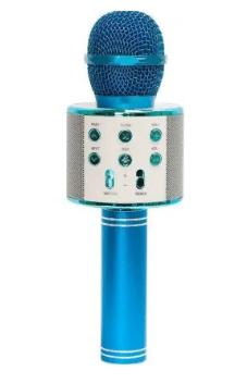 Микрофон беспроводной для караоке Bluetooth Wester WS-858 Голубой цвет