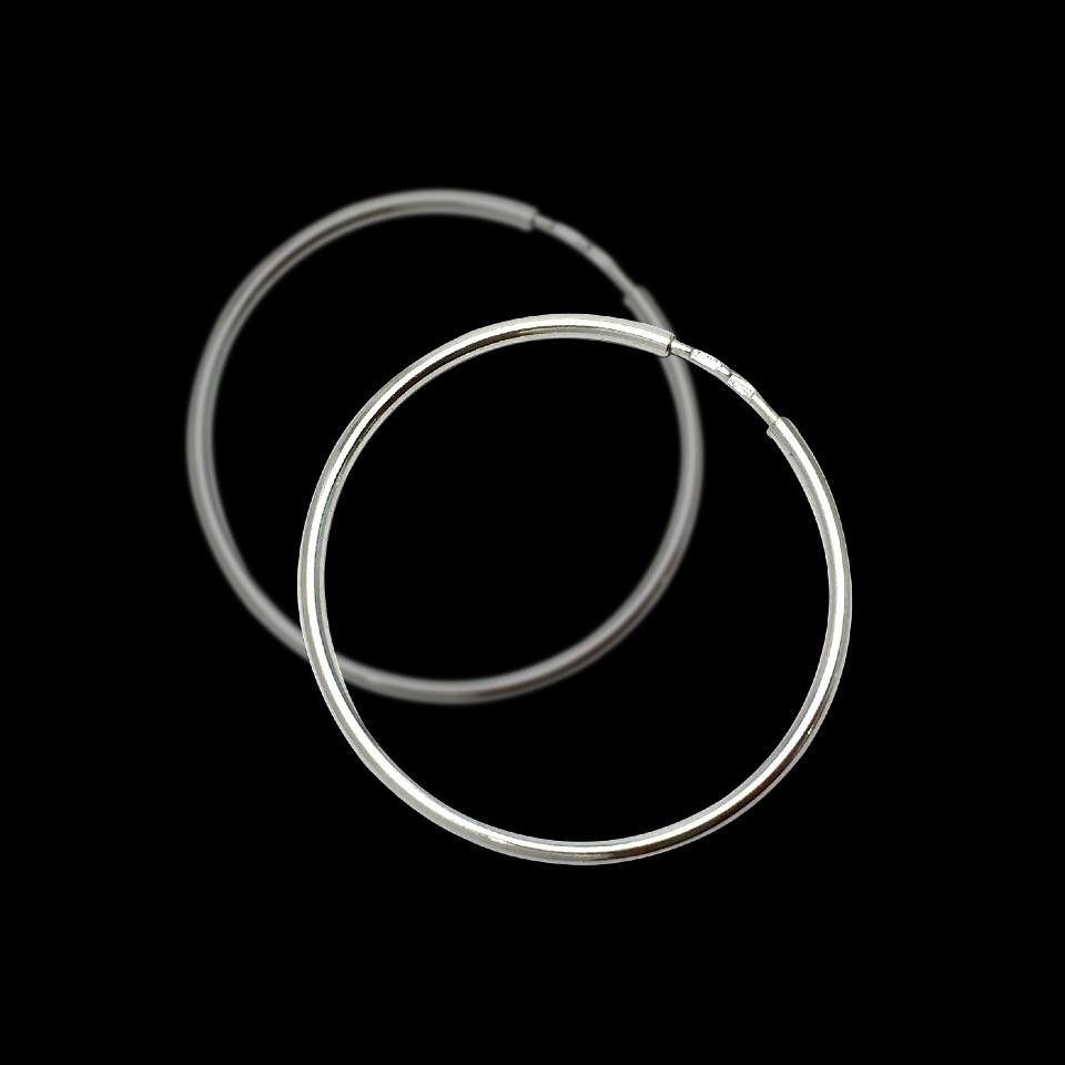 Серебряные серьги-кольца (Конго), d-75мм