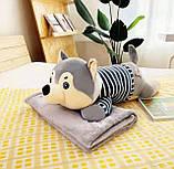 Плед детский + игрушка хаски и подушка 3в1, фото 3