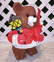 Новогодняя садовая фигура Медведи в красных костюмах с фонарями, фото 3