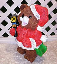 Новогодняя садовая фигура Медведи в красных костюмах с фонарями, фото 2