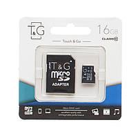 Карта памяти для телефона   флешка с адаптером micro SDHC 16GB T&G (class10) (UHS-1)