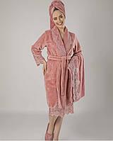 Набор халат, тапочки, полотенца Nusa Турция махровый бамбуковый с кружевом