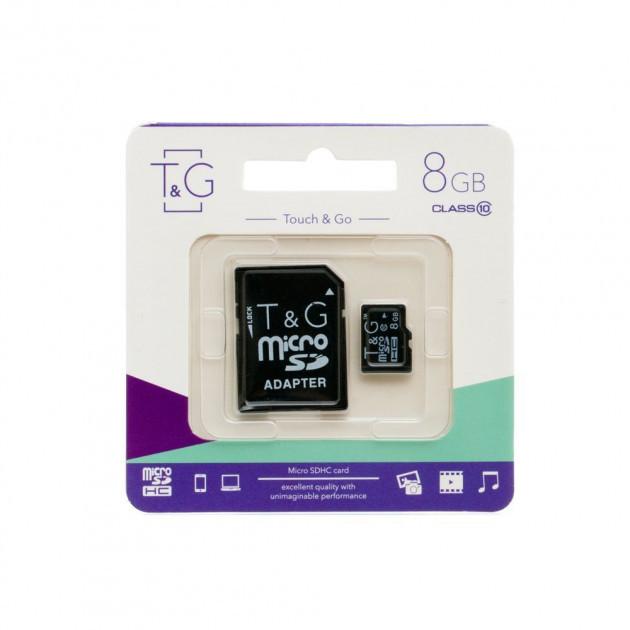 Карта памяти для телефона | флешка с адаптером micro SDHC 8GB T&G (class10) (UHS-1)