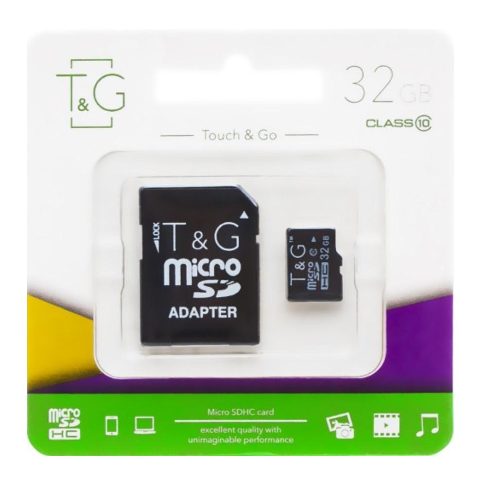 Карта памяти для телефона   флешка с адаптером micro SDHC 32GB T&G (class10) (UHS-1)