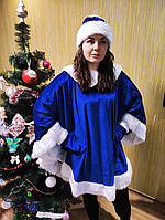 Женский костюм Снегурочки Пончо  на новый год рукавички и шапка в комплетке, фото 1