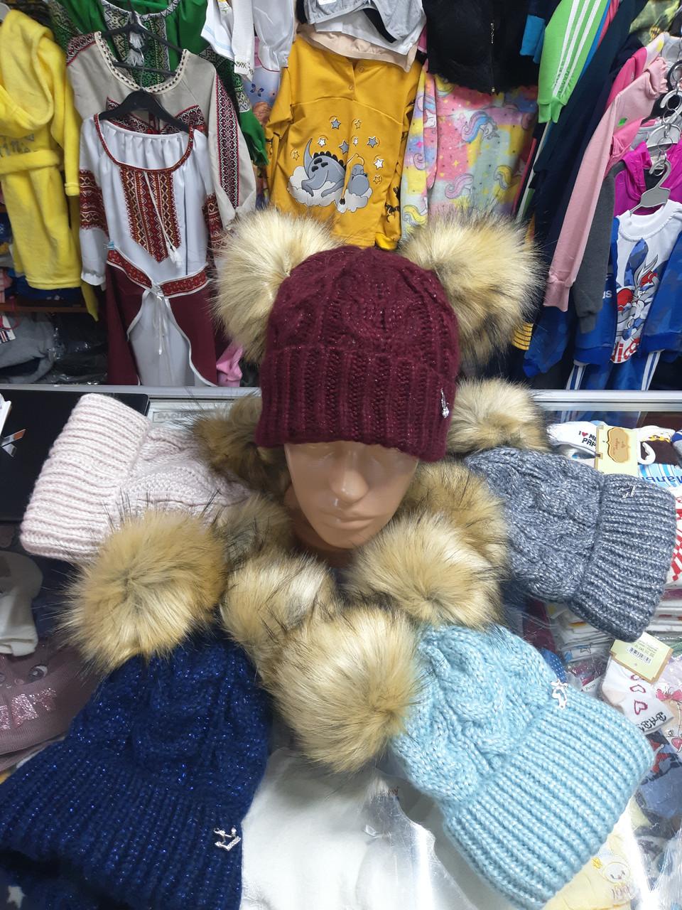 Зимняя вязанная шапка для девочки р.52-56